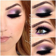 Pink and purple smokey with a touch of silver glitter