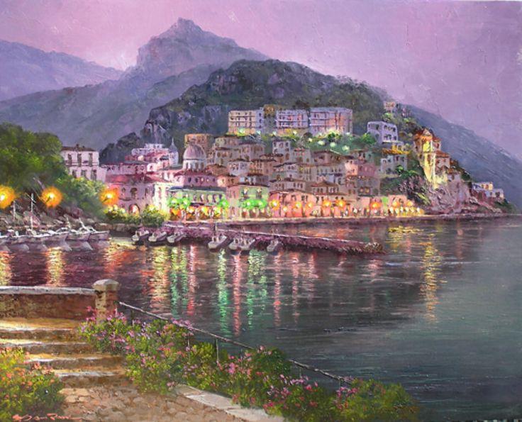 """Original Painting """"Cetara (Night)"""" by Sam Park"""