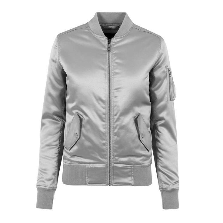 Dames satijn bomber jacket zilver - L - Urban Classics
