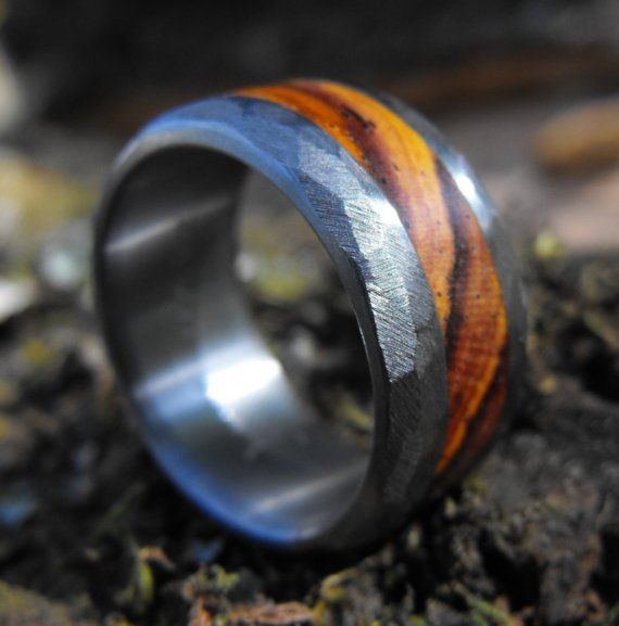 "Rough Titanium and Wood Inlay Ring for pinky but brushed middle with gaelic ""this too shall pass""/etc."