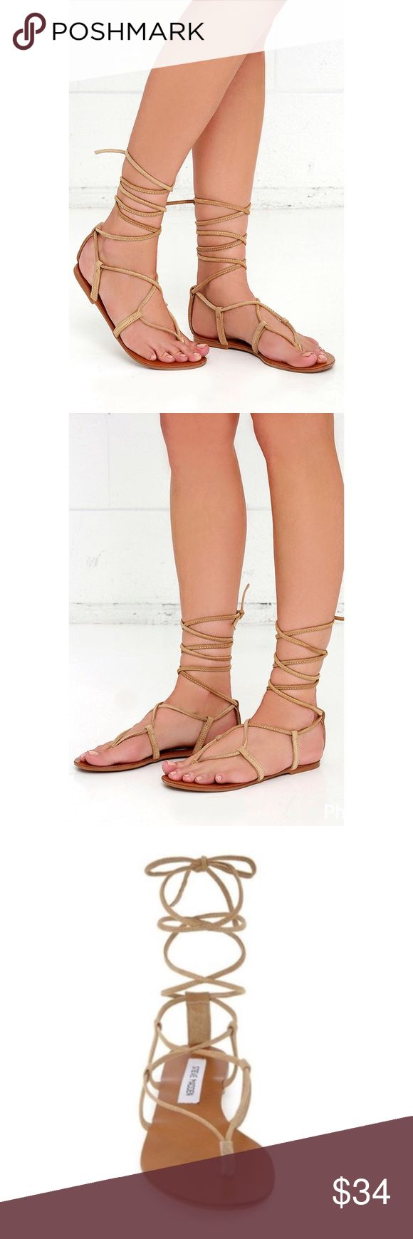 """NWT. Steve Madden lace up sandals NWT. Steve Madden lace up flats. About 0.25"""" platform.  Suede material. Tan color. True to size. Sorry, no trades. Like the item but not the price, feel free to make me a reasonable offer using the offer button. Steve Madden Shoes Sandals"""