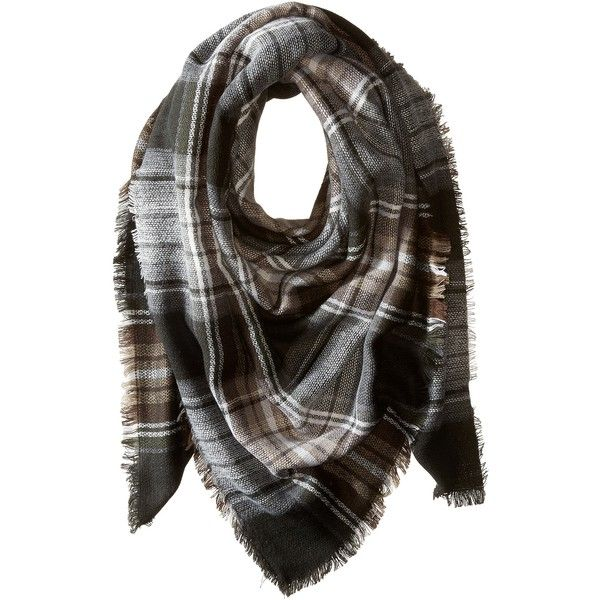 Steve Madden Classic Plaid Square Scarf (Neutral) Scarves ($26) ❤ liked on Polyvore featuring accessories, scarves, neutral, plaid shawl, plaid wraps shawls, square scarves, wrap scarves and acrylic scarves