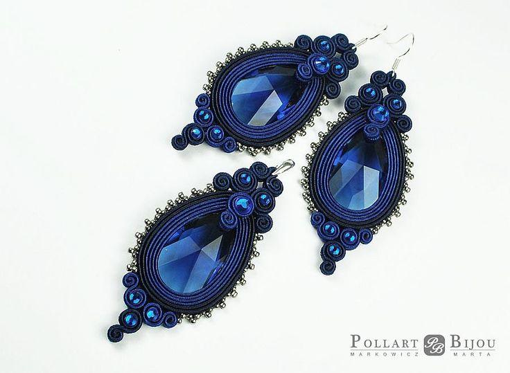 Sapphire soutache set, orecchini soutache, soutache bilateral, Swarovski, boucles d'oreilles soutache, pendant, soutache pendant by PollartBijouSoutache on Etsy