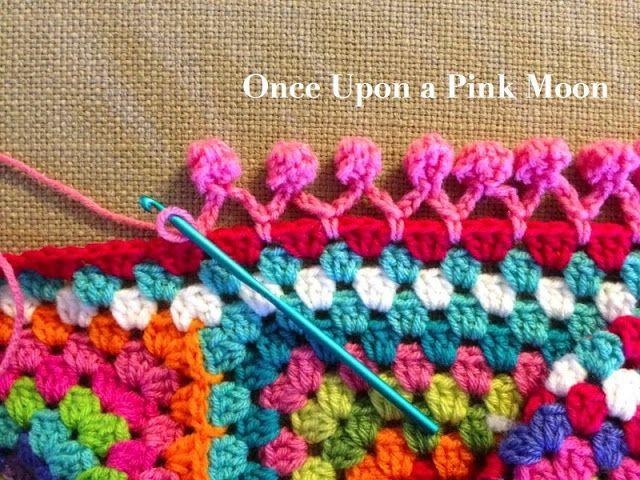 ergahandmade: How to Crochet Pom Pom Edge + Free Pattern Step By Step