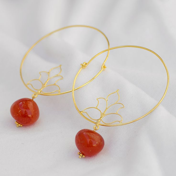 Carnelian earring, Gold Plated hoop earring,925 sterling silver hoop earring Length 6cm approx. For Query Mail us: rangrezzfashions@... #handmade #Jewelry #Designer #Silver #earring #Fashion #Carnelianearring  Price: $25