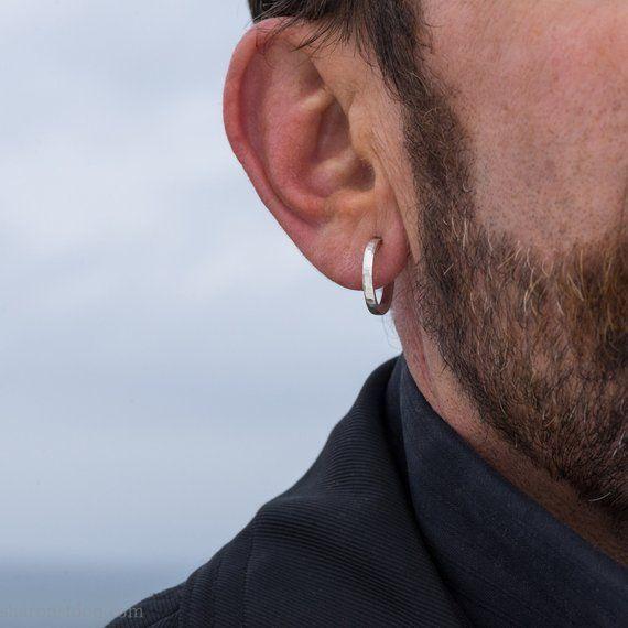 18mm Kleine Creolen Aus Sterlingsilber Fur Manner Handgefertigte Dicke Silberreifen Nachhalti Mens Earrings Hoop Sterling Silver Hoop Earrings Men Earrings