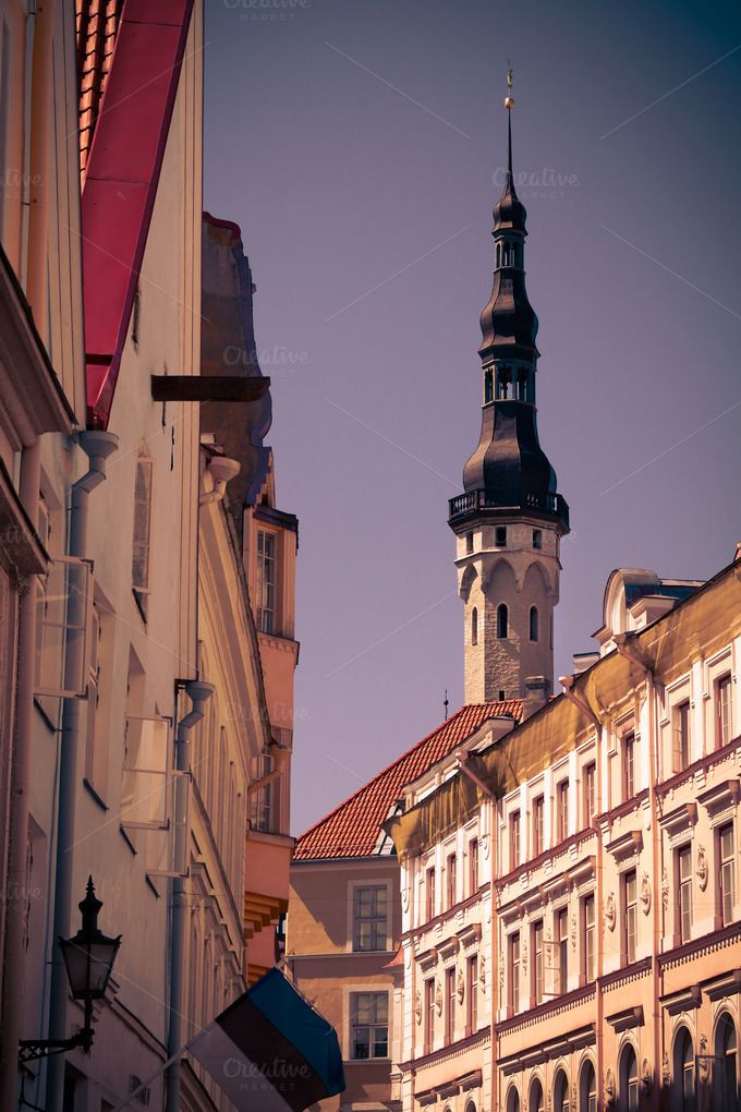 Check out The medieval street in Old Tallinn by AlexaVectorDesign on Creative Market