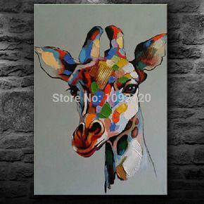 Глава-жираф-Colurful-картины-маслом-ручной-работы-Hot-картина-для-гостиной-украшения-холст-картины-маслом-настенные.jpg (700×700)