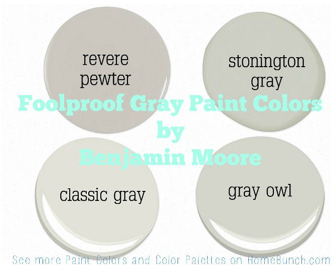 Foolproof Gray Paint Colors by Benjamin Moore. Benjamin Moore Revere Pewter…