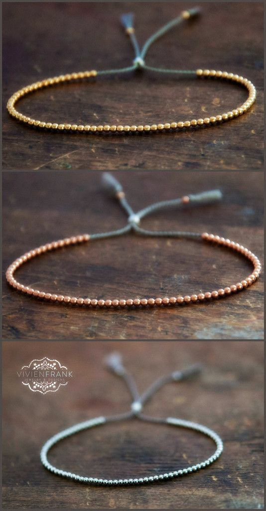 Delicate 14k solid Rose Gold beaded friendship bracelet. Yellow gold, rose gold, white gold by Vivien Frank Designs:
