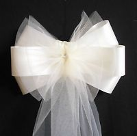 Pew Ends/Chairback Ivory Fluffy Tulle Wedding Bows