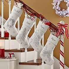 White Christmas Beaded Velvet Stocking