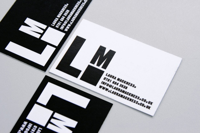 Nice bold logo and card design for Laura Mackness fashion collection