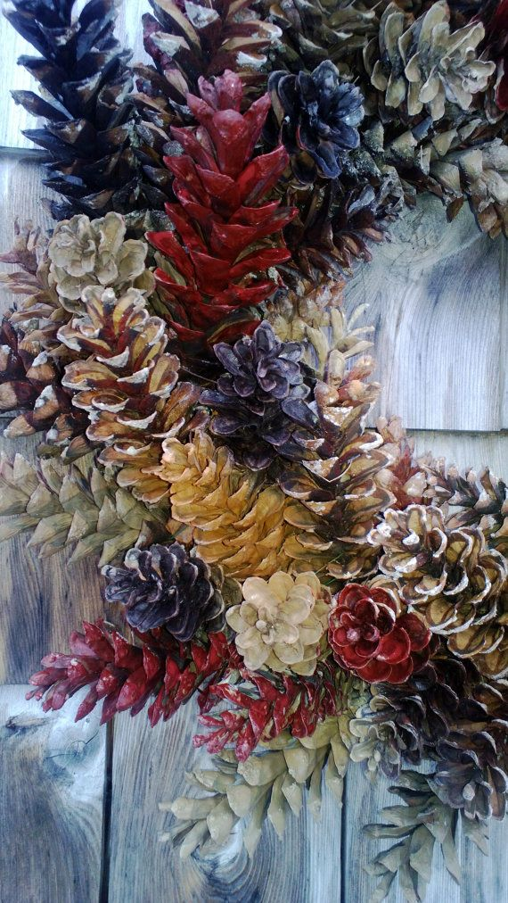 Maine Pinecone Wreath Nattural Browns and Barn red by scarletsmile