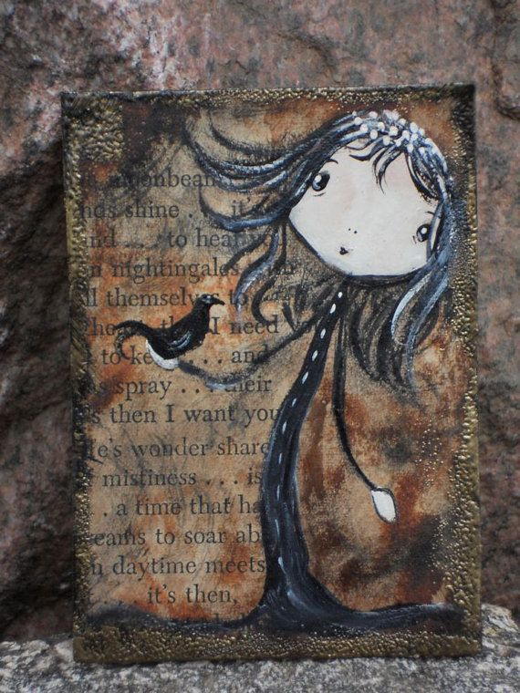 Friends Original Art Card Altered  ATC Crow by AGambrel