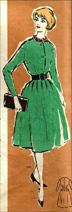 Inspiration de costume Вдохновение платья: Выкройка (чертеж) 50х-60х со спущенной линией плеча