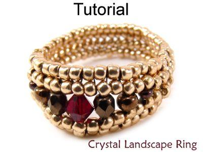 Beaded Crystal Landscape Ring Herringbone Beading Pattern Tutorial | Simple Bead Patterns                                                                                                                                                                                 Más