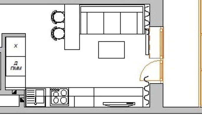 План кухни-гостиной в небольшой квартире