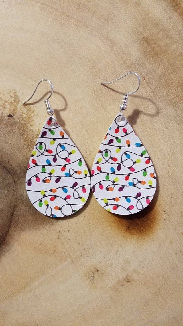 Petite Christmas Lights on Red Background Faux Leather Teardrop Earrings