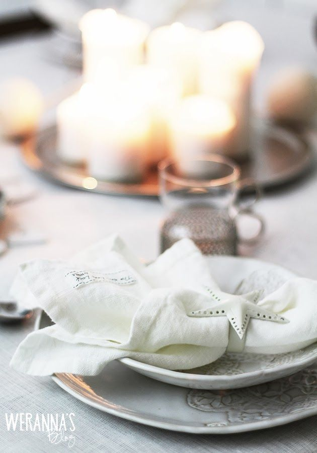 WERANNA'S: White Christmas table setting part I - valkoinen joulukattaus part I #himla #oninterior #whitechristmas #tablesetting