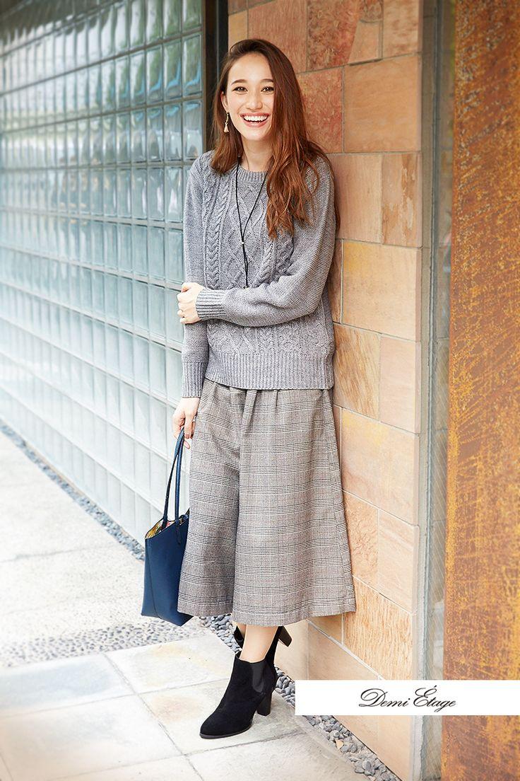 ニット×チェック柄スカーチョのマニッシュ風スタイルもキレイ色小物で華やかさUP #maria_coordinate #大人カジュアル #demi_etage #ドゥミエタージュ #ootd #fashion #winter #冬コーデ #ニット #スカーチョ #バッグ #マニッシュ #チェック柄