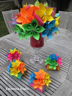 Multicolor paper flower centerpiece