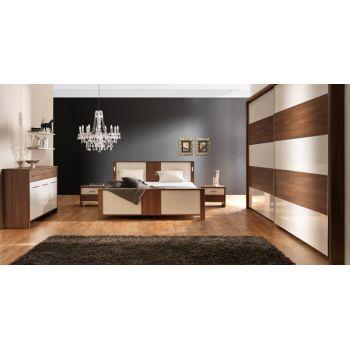 Set dormitor Ravenna complet, modern. Culoare: Frasin maro / alb lacuit. Material: Pal melaminat mat / lucios