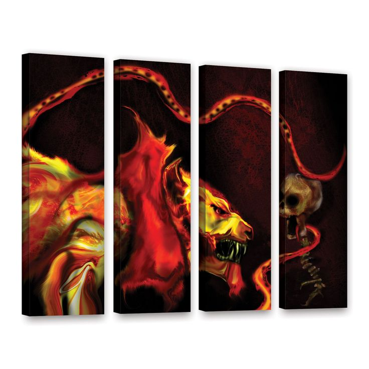 Shadow Of The Beast by Michael L Stewart 4 Piece Gallery-Wrapped Canvas Set