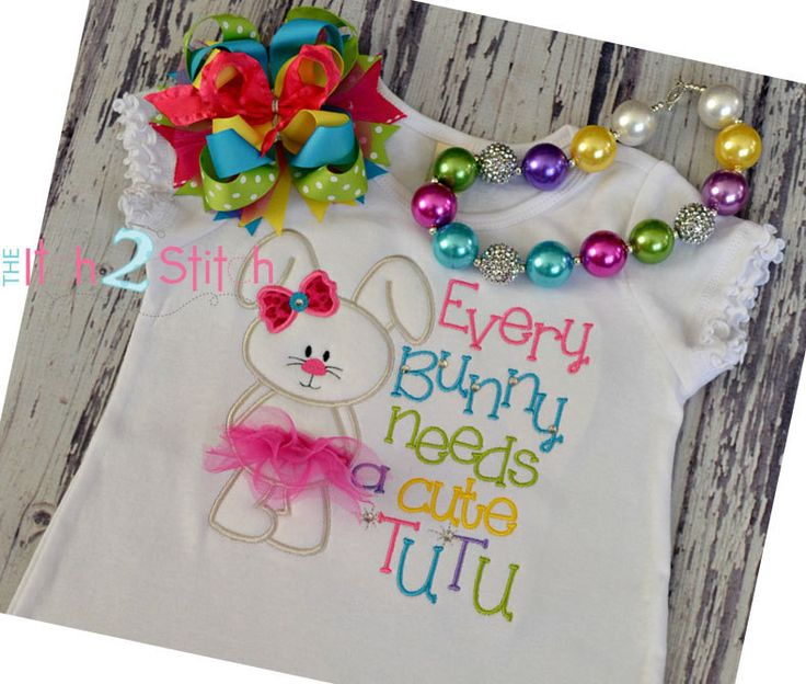"Bunny Tutu Applique Design for machine embroidery (Words NOT included)  Font ""One Thing"" sold separately. $4.00, via Etsy."