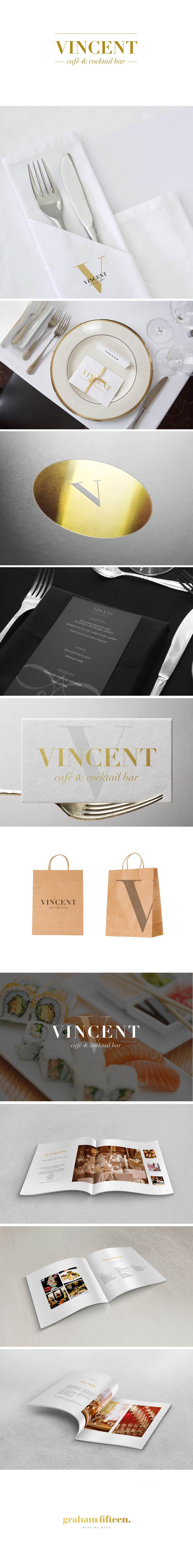 A black, white and gold colour scheme allowed Graham Fifteen to maintain a finesse throughout the image of the cocktail bar sector of Vincent yet the paper bags and earthy tones allowed the cafe aspect to remain relaxed. Minimalism is key in this design. #GrahamFifteen #branding #design #creative #marketing #Liverpool #food #drink #image