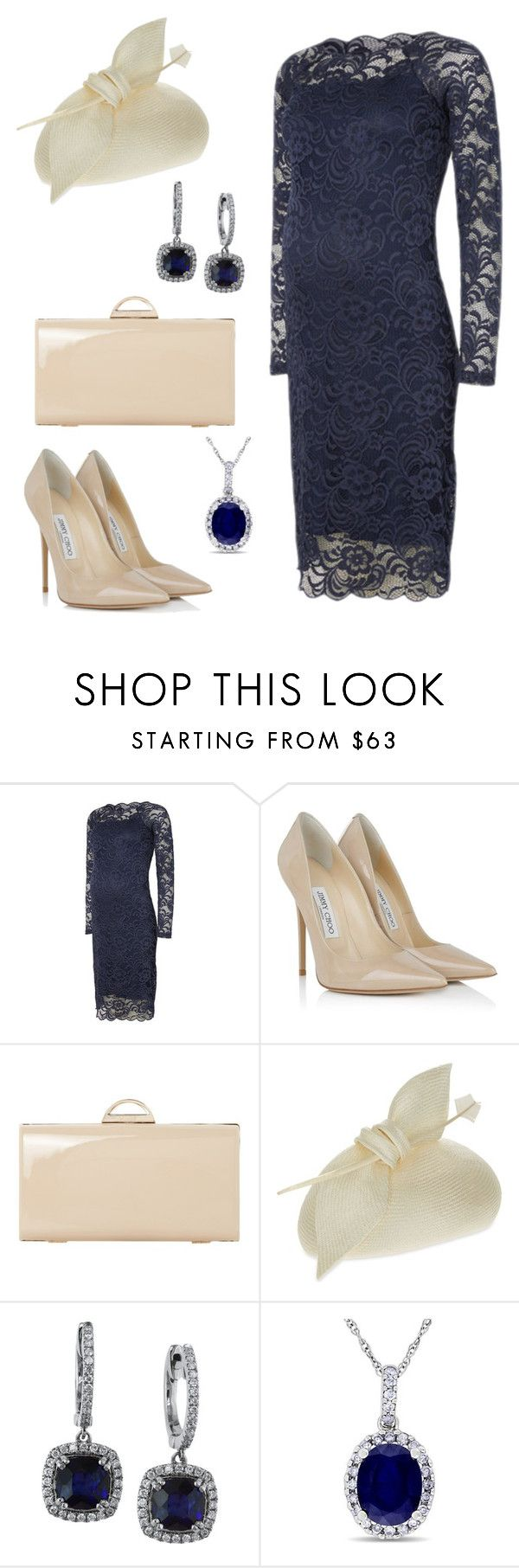 """Maternity wedding guest"" by laurenharty ❤ liked on Polyvore featuring Mama.licious, Jimmy Choo, Dune, Juliette Botterill Millinery, Effy Jewelry and Allurez"
