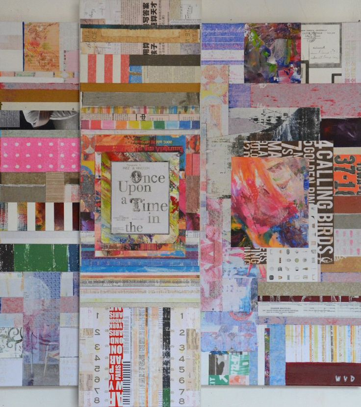 Wouter van Donselaar. Once upon a Time. Kleurrijk abstract modern mixed media schilderij, opgebouwd uit diverse lagen (dekkend en transparant) en met verschillende materialen.