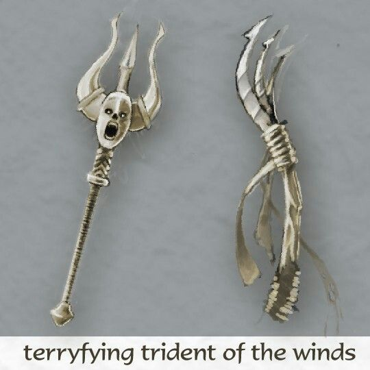 """""""Terrifying trident of the wind"""" - random weapon design, """"basic"""" & """"upgraded"""" version"""