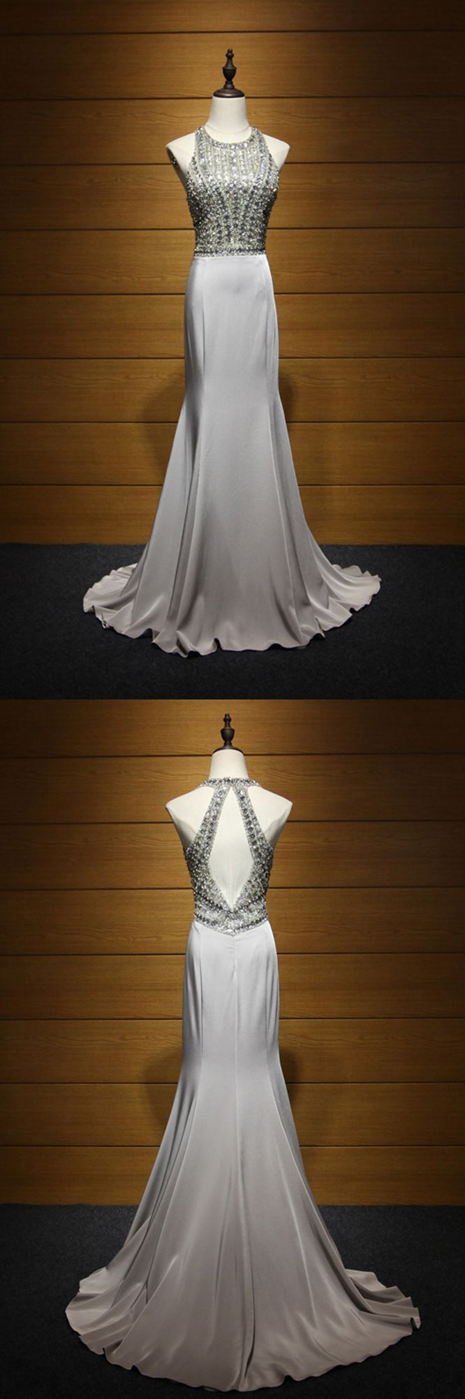 Formal Beaded Long Halter Prom Dress for Special Occasions