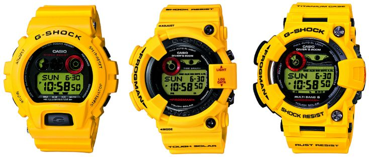 G-Shock 30th Anniversary Limited Edition Lightning Yellow Watches. From the left: GDX6930; GF8230; GWFT1030
