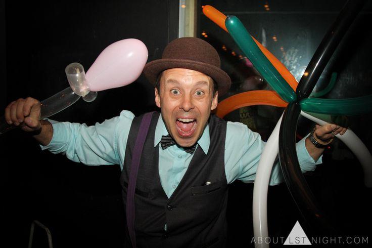 The amazing Adrian Dean balloon twisting for LMC @ BEACH ROAD 21ST Event