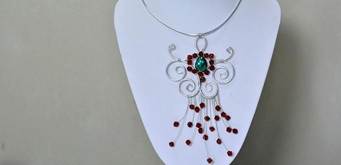 Silver Aluminum Wire Wrapped Pendant Necklace with Glass Beads from Pandahall.com: