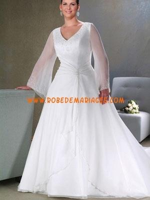 Robe de mariée grande taille col V longue manche