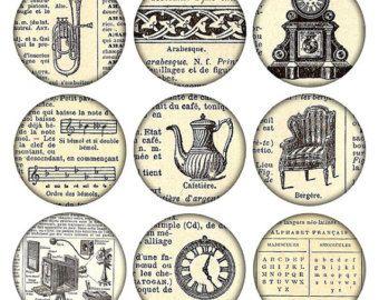 2,5 Zoll Jahrgang druckbare Tags große Runde Bilder Grunge Hintergrund digitale Collage Blatt Französisch Wörterbuch