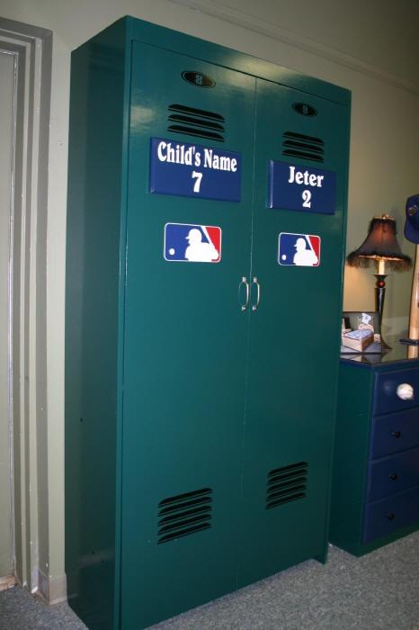 A baseball locker closet! Perfect for any baseball fan