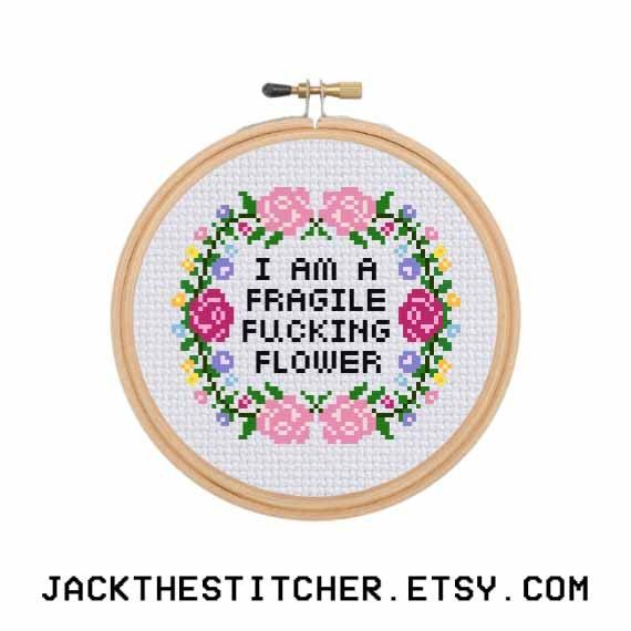 I Am A Fragile F*cking Flower Subversive Modern Cross Stitch Template Pattern Instant PDF Download