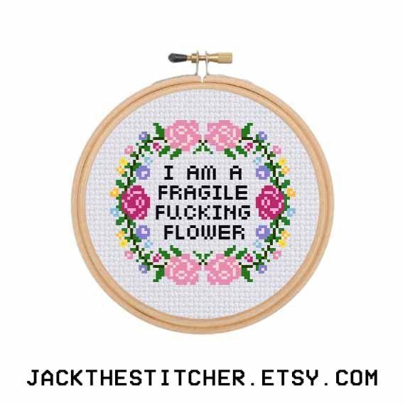 PDF ONLY I Am A Fragile F*cking Flower Subversive Modern Cross Stitch Template Pattern Instant PDF Download