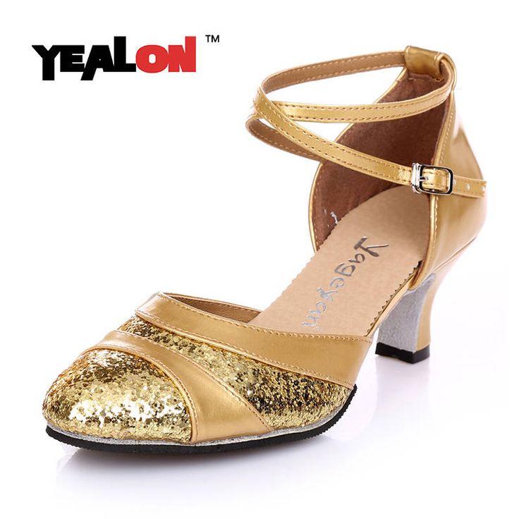YEALON Salsa Dance Shoes Women Scarpe Da Rhinestone Ladies Sapatos Feminino Danse Femme Zapatos De Baile Latino Mujer Gold