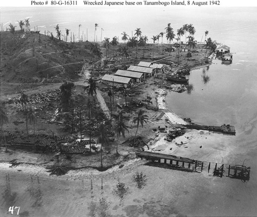 The Battle of Guadalcanal. Wrecked Japanese base on Tanambogo Island, 8 August 1942.
