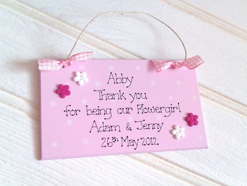 Wedding Favour Thank You Gift Plaque Bridesmaid Flowergirl Personalised
