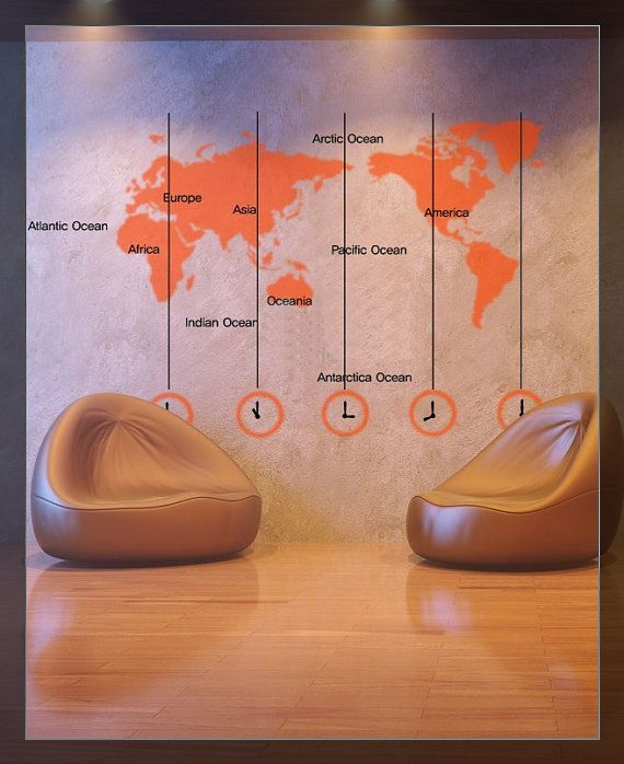 Spedizione gratuita muro sticker's 2014 nuovo 158x120cm mappa del mondo +words orologio da parete vinile arte