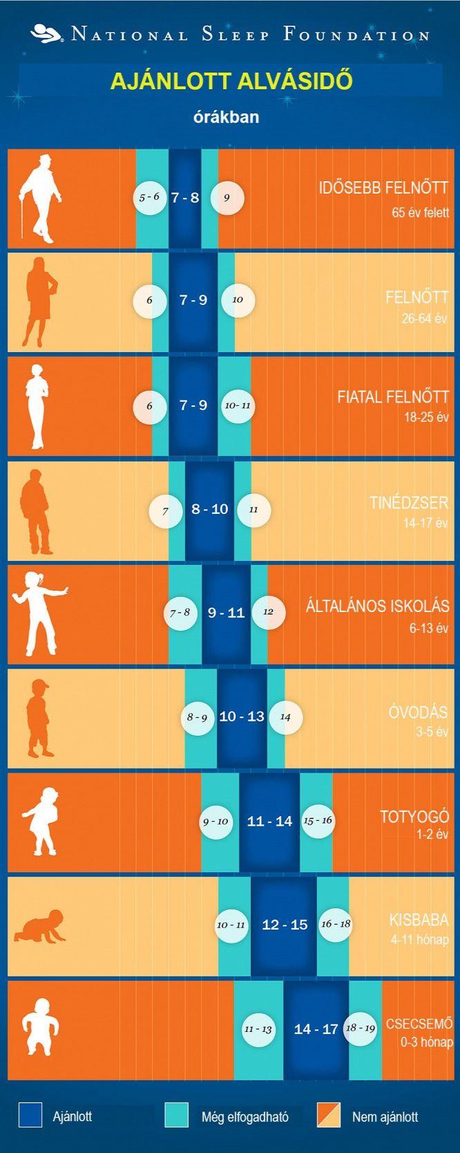 Látványos táblázat az alvásigényről