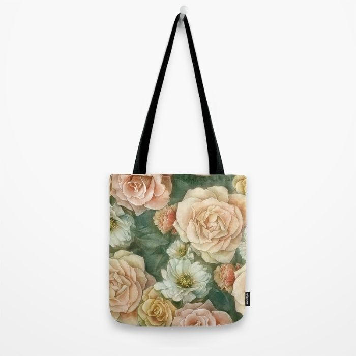 Floral rose pattern Tote Bag by StrijkDesign | Society6