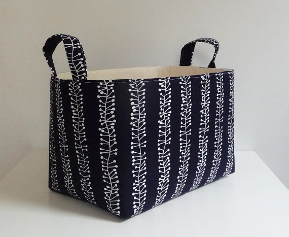 Good Large Storage Basket Fabric Organizer In Pure Burst Stripe Fabric In Navy  And White By Stof