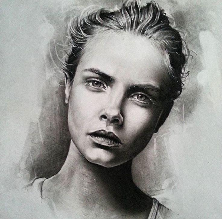 Cara Charcoal Original - size A2 portrait. R2,500.00 (incl. VAT). Framed (white wood)
